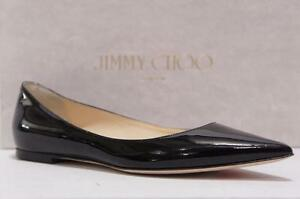 JIMMY CHOO ALINA BLACK PATENT LEATHER POINTY TOE FLAT SHOES 35.5/5 5