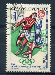 TCHECOSLOVAQUIE-1964-timbre-1356-SPORT-JEUX-OLYMPIQUES-FOOTBALL-oblitere