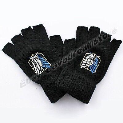 Attack On Titan Shingeki No Kyojin Scouting Legion Half Finger Wool Knit Gloves