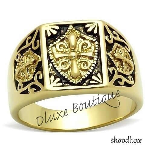 Mens-14k-IP-Gold-Masonic-Freemason-Knights-Templar-Coat-Of-Arms-Ring-Size-8-14