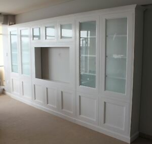 Image Is Loading 034 Hamilton Timber Integrated Wall Unit Bookshelf