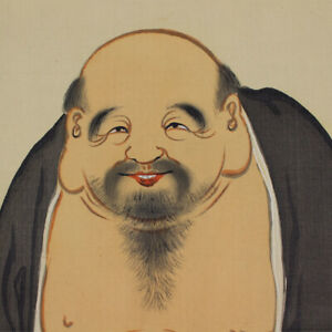 HANGING-SCROLL-JAPANESE-PAINTING-JAPAN-Lucky-God-Hotei-Old-VINTAGE-ART-856m