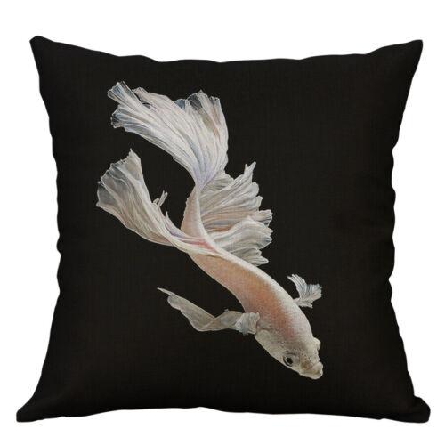 """18/"""" poissons rouges poissons en coton imprimé Lin Housse De Coussin Throw Pillow Case Home Decor"""
