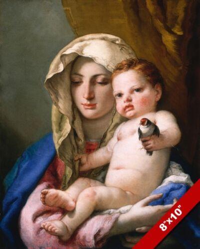 TIEPOLOS MADONNA /& CHILD MARY /& BABY JESUS /& BIRD PAINTING ART REAL CANVAS PRINT