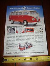 VOLKSWAGEN VW MICROBUS VAN BUS - FRANKLIN MINT - ORGINAL AD / PRINT  AD