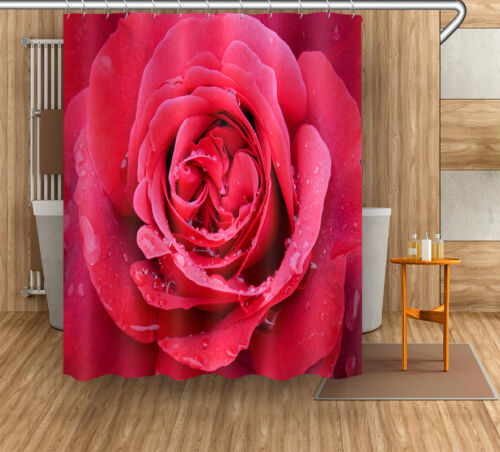 """72//79/""""Bath Fabric Shower Curtain /& Mat Rug /&12Hook-Blooming Red Rose Water 4022"""