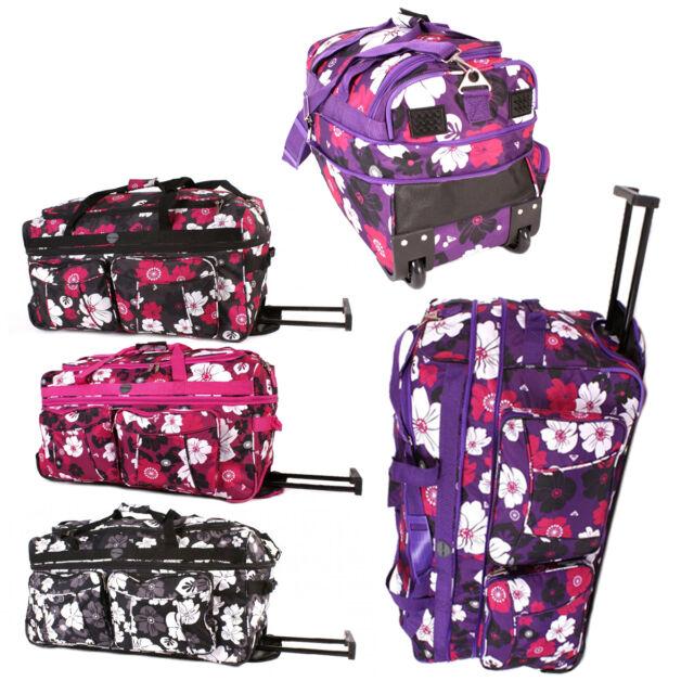 Extra large expanding Flower wheeled holdall travel bag