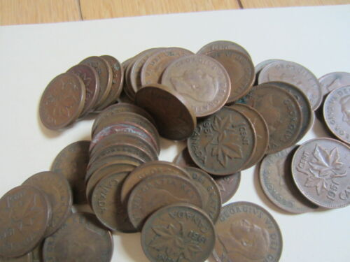 Roll of 1951 Canada Small Cents 50 Coins