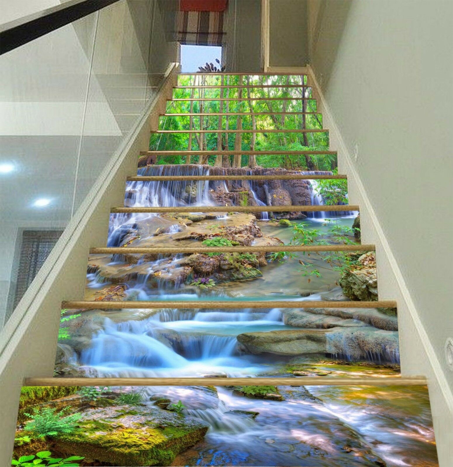 3D Stream des arbres 3 Stair Risers Decoration Photo Mural Vinyl Decal Wallpaper CA
