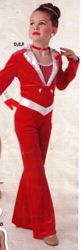 RED V front silver Velvet Spandex Bootcut Jazz Pants Dance Costume CH// Ladies