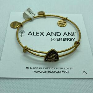 (2) Alex And Ani Steady Vessel Slider Bangle Bracelets Rafaelian Gold Finish