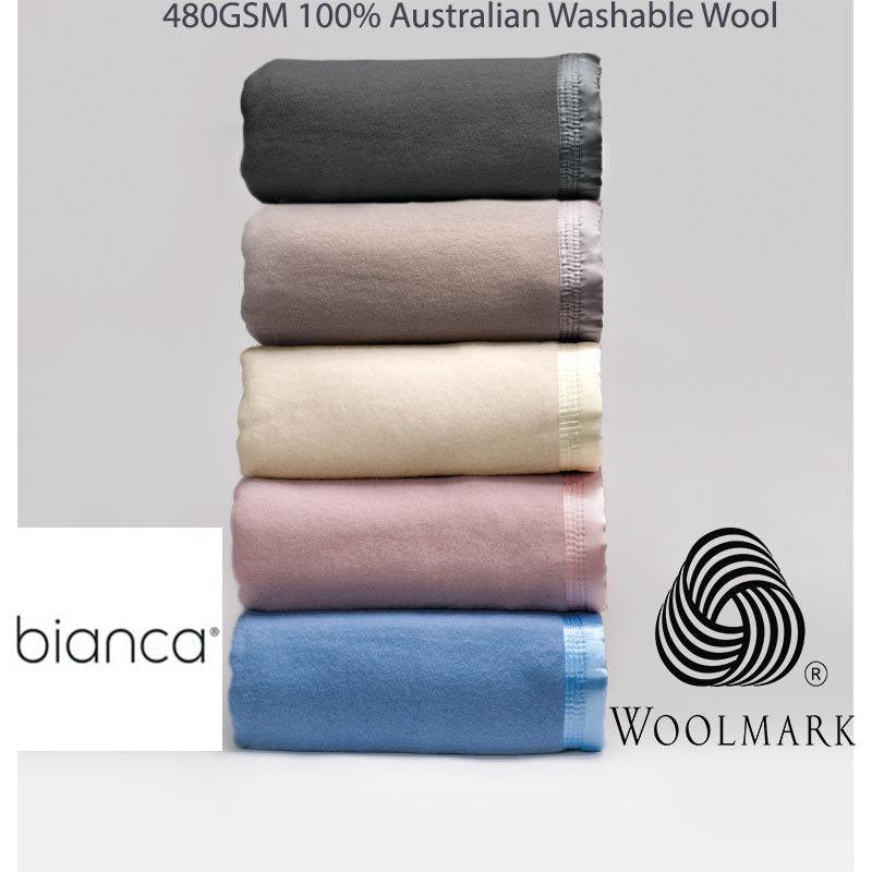 Weiß 480GSM 100% Australian Washable Wool Blanket in All Größes
