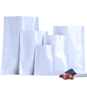 Details About White Aluminum Foil Bags Heat Seal Mylar Food Storage Vacuum Pouches Packaging