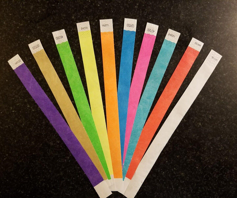 10,000 1.9cm Tyvek Bracelets en 10 Couleurs, Papier Bracelets, Papier Brassards