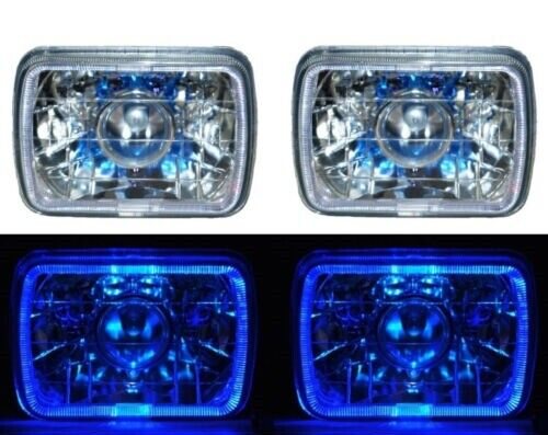Jeep Cherokee XJ H4 Head Lamp 7x5 inch set of 2 with Parking Light & LED Ring