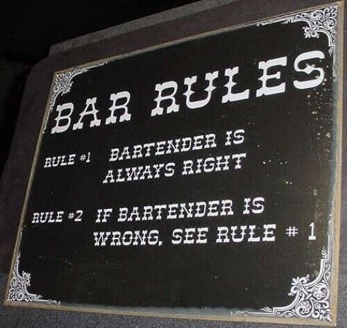 VINTAGE BAR RULES SIGN BARTENDER IS ALWAYS RIGHT  beer room liquor cocktail home