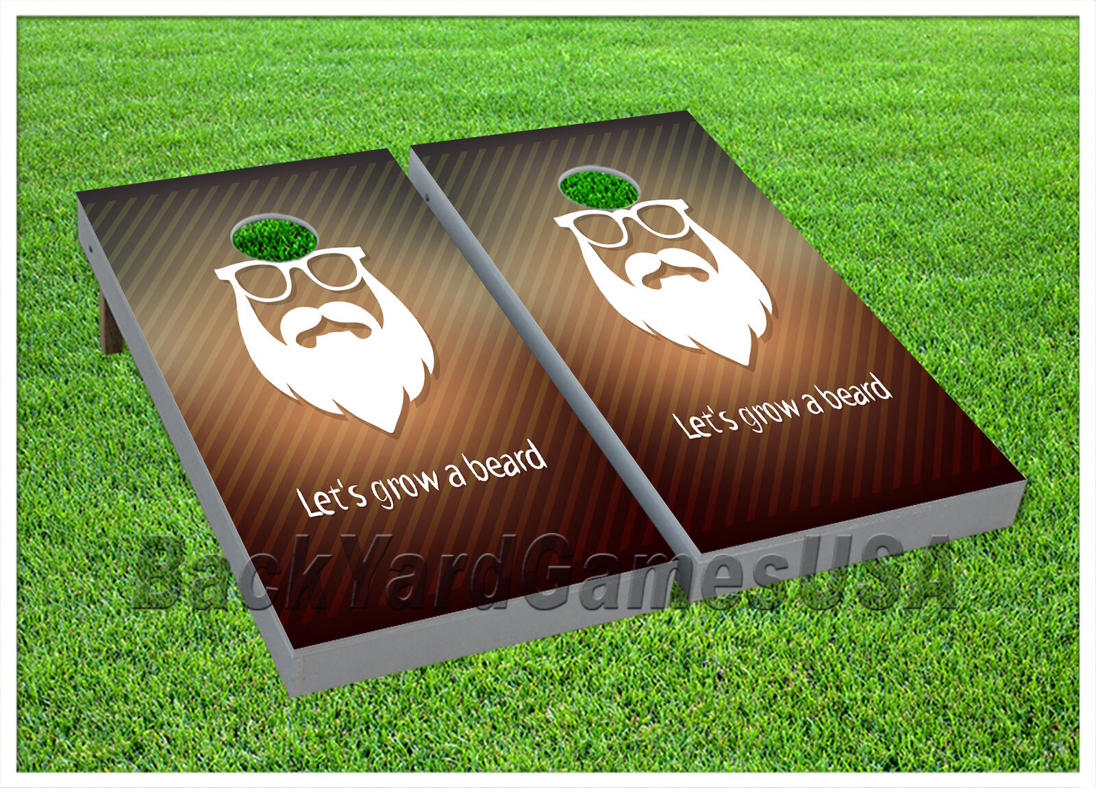 VINYL WRAPS CORNHOLE BEANBAG Lets Grow a Beard White and gold Boards 933