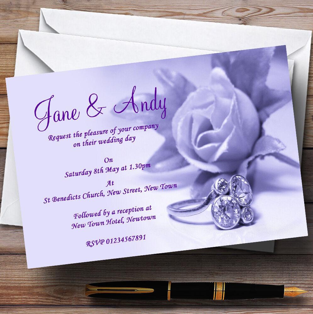 Violet lilas et et lilas rose anneau de mariage invitations personnalisées 196b98