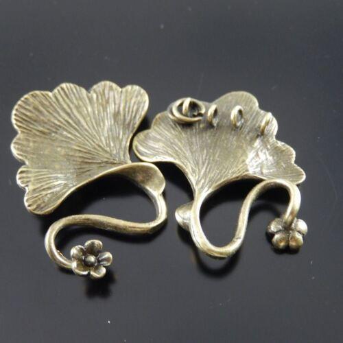 4pcs Antique Bronze Laiton Feuille Shaped Charms Fermoir Pendentif Bijoux Accessoire