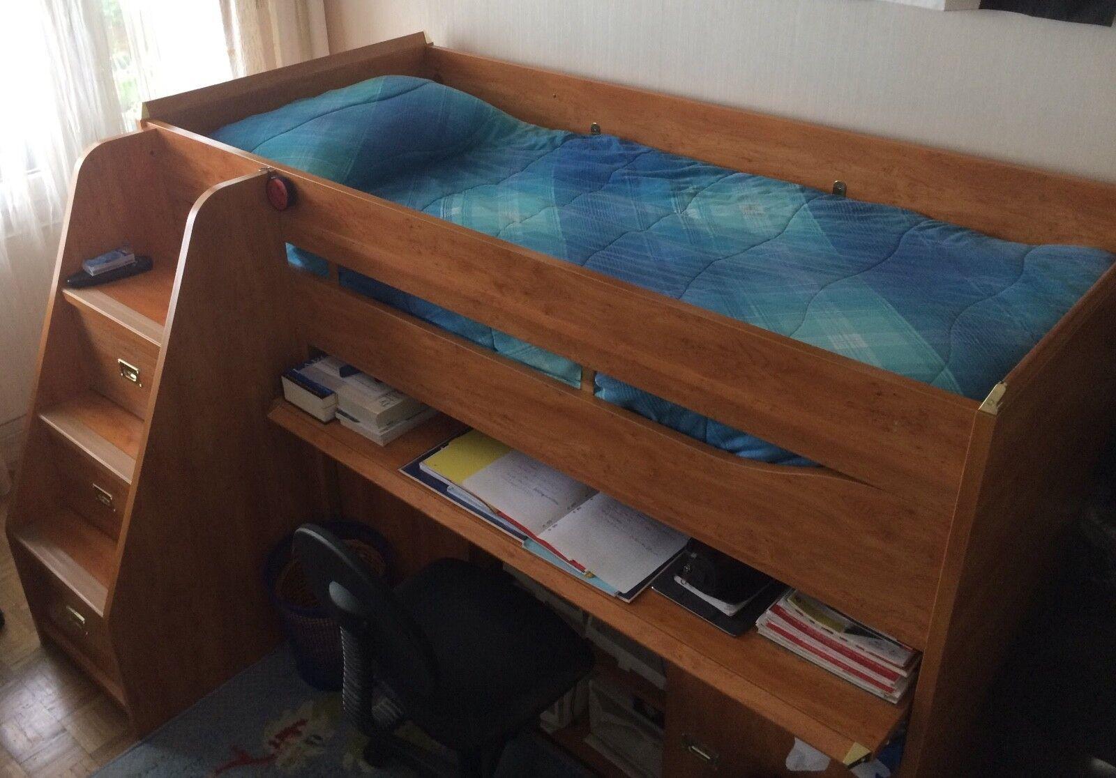Lit avec bureau bois marron Lit pour enfant mezzanine bibliothèque tiroirs