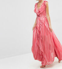 Branded Ruffle Waterfall Maxi Dress With Zip Front In Self Strip UK 6/EU 34/US 2