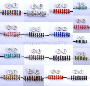 100Pcs-Czech-Crystal-Rhinestone-Silver-Rondelle-Spacer-Bead-4mm-5mm-6mm-8mm-10mm