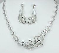 Silver Tone Wedding Bridal Costume Jewellery Set Use Clear Swarovski Crystals