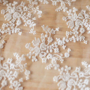 Lace Floral Embroidery Fabric Bridal Wedding Dress Material Mesh