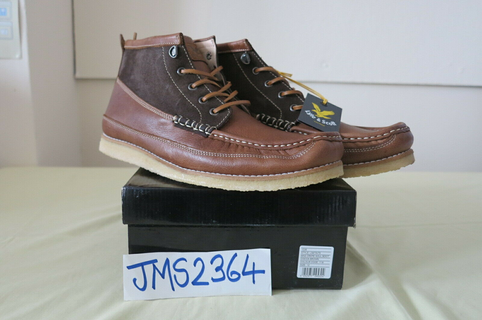 LYLE & SCOTT MENS CREPE SOUL Stiefel COCOA braun MADE IN SPAIN LEATHER 12UK 46EUR