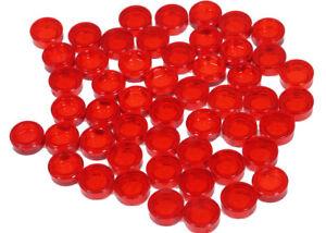 LEGO-50-x-Rundfliese-1x1-transparent-rot-Fliese-rund-98138-NEUWARE-L6