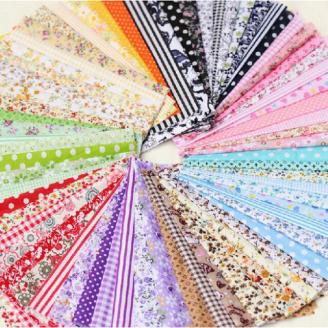 50PCS 10x10cm Fabric Bundle Stash Cotton Patchwork Sewing Quilting Tissue Cloth