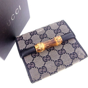 Gucci-Wallet-Purse-Trifold-Bamboo-Black-Woman-Authentic-Used-Y110