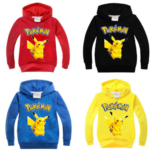 Pokemon Pikachu Kids Boys Girls Hoodie Sweatshirt Hooded Pullover Clothes Jumper