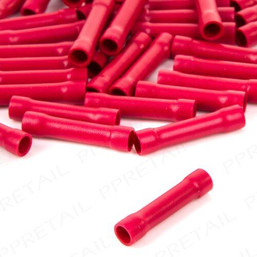 50x Insulated Red Straight Butt Connecteurs Terminaux Électrique Sertissage Câblage Voiture