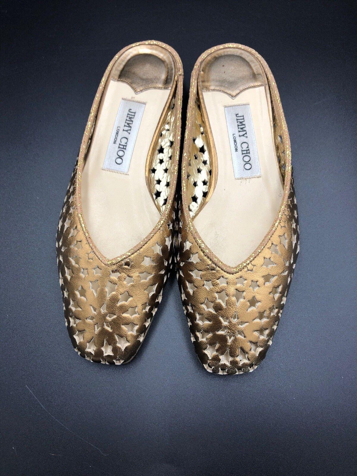 JIMMY CHOO 'Medhi' FLAT Gold Bronze Slides Slip On Sandals Größe Uk 3.5 Eu 36.5    | Schön