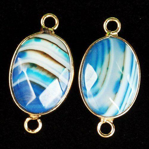 6Pcs Enveloppé bleu blanc rayures Onyx Agate Ovale Pendentif Bead D201984