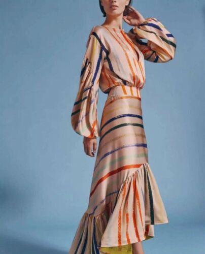 Womens Stylish Striped Slim Fit Puff Sleeve Round Collar Occident Dress Iregular