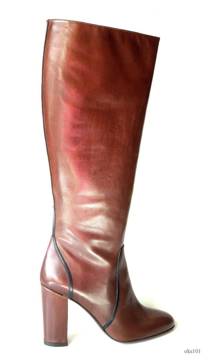 New  778 DELMAN chocolate brown leather zipper TALL BOOTS 11 made in Italy