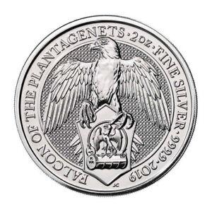 2019 Britain 2 oz Silver Queen's Beasts Falcon Plantagenets £5 GEM BU SKU55246