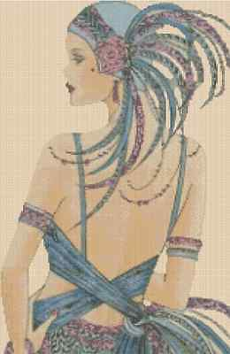 Counted Cross Stitch ART DECO LADY in Blue Dress - COMPLETE KIT No. 12vb-74b KIT