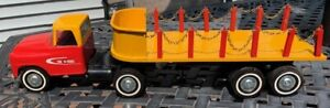 Vintage Tru Scale Steel Semi Tractor Trailer Flat Stake Bed Great Condition