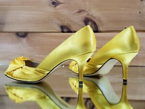 Details about Luichiny Best One Yet Canary Yellow Open Toe Satin Kitten  Heel Pump Shoe 7 , 11