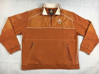 Initiative Coogi Orange Long Sleeve 1/4 Zip Rugby Shirt Activewear Men's Size 3xl With The Best Service