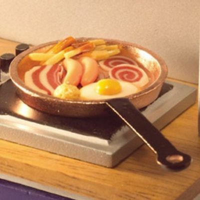 Dolls House Miniature: English Breakfast in a pan  : 12th scale
