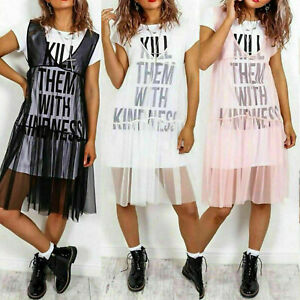 Ladies-Plus-Size-Sheer-Mesh-039-Kill-Them-With-Kindness-039-Slogan-Tulle-T-shirt-Dress