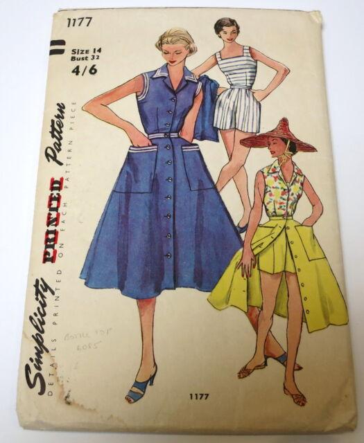 "VINTAGE SIMPLICITY DRESS PATTERN 1177 BUST 32"" 1950s"