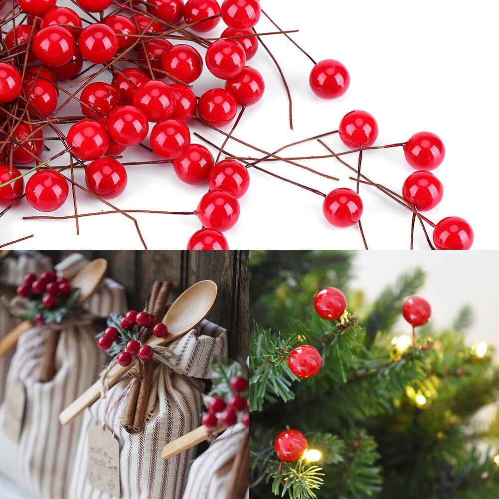 Christmas Leaf Tree Fruit Cherry Branch Ornaments Xmas Tree Hanging Decor AL