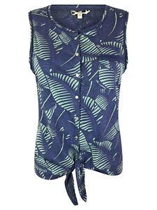 Nuevo-Ex-Fat-Face-Azul-Corbata-frente-informal-de-verano-Top-6-18-South-Beach-impresion-de-hojas
