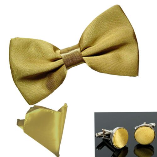 Various Colours Pocket Square New Plain Pre-Tied Satin Bow tie Cufflink