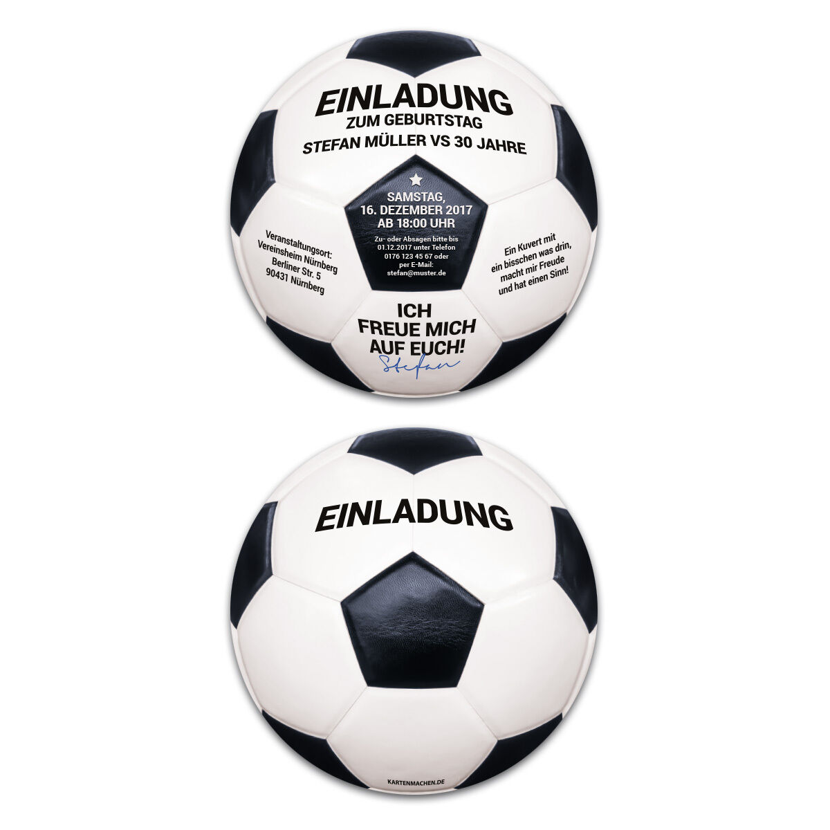 Runde Einladungskarten Geburtstag individuell Vintage Retro Schwarz-Weiß Fußball | Fairer Preis  | Erste Qualität